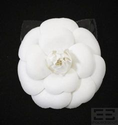 Chanel White Fabric & Black Patent Camellia Flower Brooch NEW In Box on auction now at www.shopedropoff.com......eBay # 390509466334