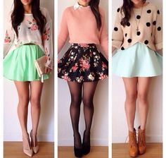 hipster outfit hipster fashion skater skirt floral mint green sweater laced booties.