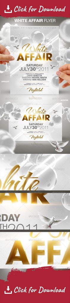 3d, bubbles, celebration, clean, disco, diskothek, dj, elegant, event, event poster, flyer design, fresh, futuristic, glitter, glossy, gold, heaven, house, logo, music, nightclub, party, party flyer, sexy, shiny, sky, stylish, white A modern clean flyer design template for a house party in white.   The download file contains: 2 Flyer (DIN A6) one upright, the other across.   Flyer size: 10,7×15 cm. (4.21×5.90 inch)   Bleeds: 0,1 cm at each border   Fonts used: HelbaBlackDB, HelbaDB, T...
