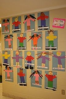All About Me unit.We did these in my Kindergarten class the first week of school, sent them home as a family project. The kids LOVED doing them. They were all super creative and look lovely hanging in our classroom. All About Me Crafts, All About Me Preschool, All About Me Activities, All About Me Art, Preschool Classroom, Kindergarten Classroom, Classroom Activities, Preschool Activities, Children Activities