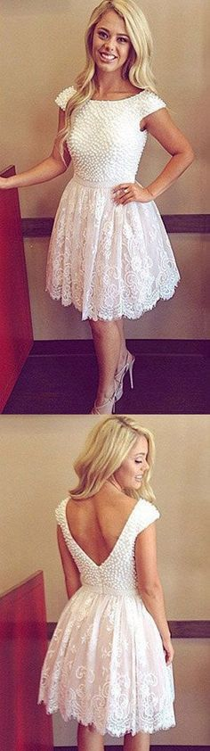 Short Lace Homecoming Dress With Pearls ,Short Wedding Dress, Prom Dresses Cocktail Dresses Graduation Dresses