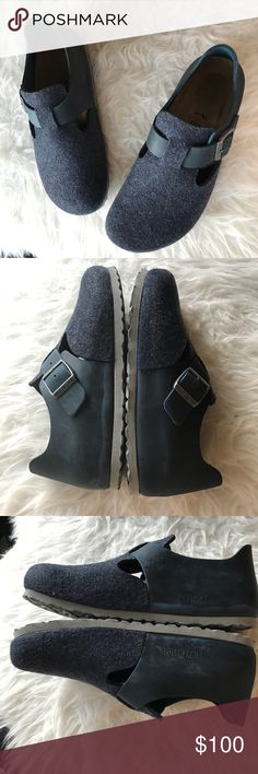 NIB Birkenstock London soft footbed shoes Brand new in box. Leather/ felt. Soft footbed narrow. Navy blue. Size 39 Europe Birkenstock Shoes Flats & Loafers