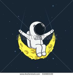 Spaceman sway on the moon like a swing boat.Childish vector illustration