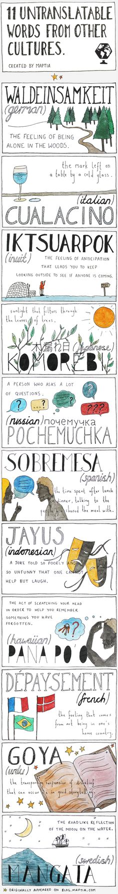 """I dig """"waldeinsamkeit"""" (German) and """"Sobremesa"""" (Spanish), but I feel maybe some of these could be easily translated."""