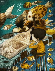 Boy drawing fish by Berk Ozturk Art And Illustration, Art Textile, Fish Art, Childrens Books, Illustrators, Fantasy Art, Book Art, Character Design, Creations