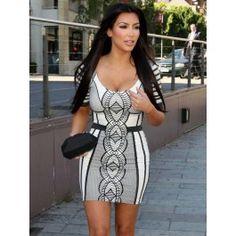 Vestidos Bandage Blanco y Negro Kim Kardashian VB047