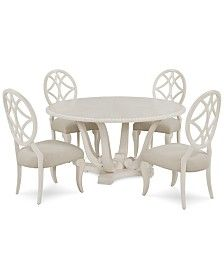 Jasper County Dogwood Round Dining Furniture, Set (Table & 4 Side Chairs) trending at Kitchen Chairs, Dining Chairs, Kitchen Nook, Dining Area, Kitchen Ideas, White Round Dining Table, Curved Bench, Shabby Chic Table And Chairs, French Country Kitchens