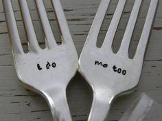 Wedding serving forks - i do , me too - hand stamped - silver plated - antique or vintage - personalized - dinner forks -bride and groom
