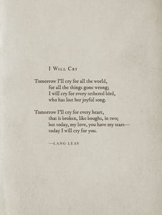 I Will Cry~Lang Leav