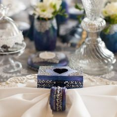 We've long had in mind to use our Winter Fairytale collection in a styled shoot… Event Design, Wedding Designs, Fairytale, Wedding Decorations, Hand Painted, Navy, Antiques, Winter, Handmade