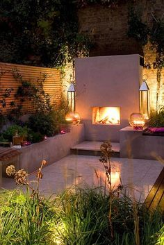 Great little outdoor space with a fireplace and lighting so it can used at night and on warm spring or autumn evenings