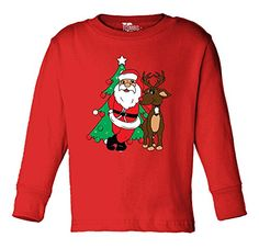 Santa with Reindeer - Christmas TODDLER Little Boy Long S…