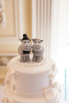Hippo wedding cake topper, bride and groom, grey, polymer clay