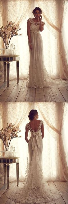 Anna Campbell Wedding Dresses,Lace wedding dress,Long bridal gowns,Backless wedding dress,Elegant Beach wedding dresses