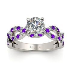 Round Cut Created Sapphire And Amethyst Rhodium Plating Sterling Silver Engagement Ring