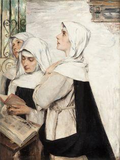 David Dalhoff Neal - Three Nuns in Prayer Digamos que Acacia es quien se encuentra en medio y está a punto de enseñar la lección musical a sus compañeras novicias.
