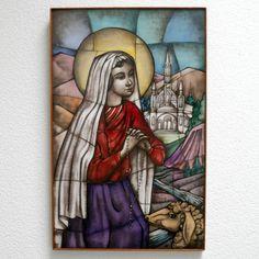 St Bernadette Of Lourdes, Glass Artwork, Catholic Art, Spiritual Gifts, Patron Saints, Opaline, Vibrant Colors, Art Deco, Antiques