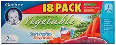 Gerber Assorted 18 Pack Vegetables (6 Peas, 6 Sweet Potatoes, 6 Carrots)