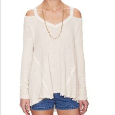 Free People sweater- NWT- size small Free People sweater - NWT - size small. Shoulder cut-out detail. Neutral cream color goes with everything. Perfect for Spring and cool Summer nights!  Only reason I'm selling is because it's too big.  Note: lighting is dark in last photo. Free People Sweaters