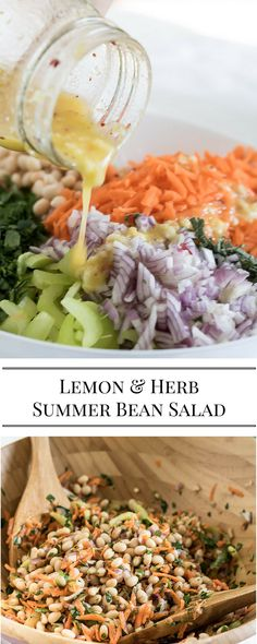 Lemon & Herb Summer Bean Salad | quick and easy potluck dish for summer BBQs and picnics. Make ahead. Vegan.
