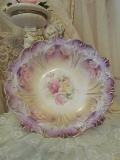 Antique Large RS Prussia Porcelain Rose Bowl In Pinks and purple.