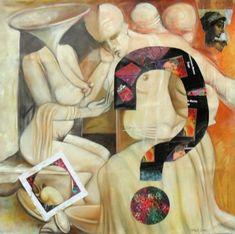 """Salvatore Torretti e GMzago """"Il punto interrogativo di Zago sul quadro di Torretti"""" - Pittura, 100x100 cm © 2011 di Zago -"""