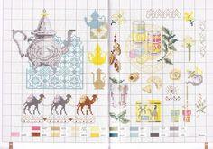 point de croix grille et couleurs de fils thé et gateaux arabes
