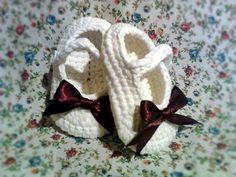 Handmade Crochet Baby Shoes in White. $12.50, via Etsy.