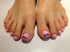 "Pretty pedicure: Mustache Toenails with ""bubblegum"" pink polish. Cute"