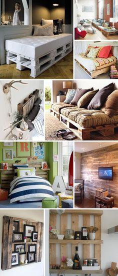 Palets são aquelas madeiras que os supermercados e lojas usam para carregar as mercadorias.   Vejam como usá-las na decoração.  Aqui tem uma...