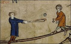 "'Found in the margins of a calendar in a 14th-century Flemish book of hours. Various historians of sport have identified this as a version of ""stool ball"" or ""stump ball"", which was baseball played with only one base'"