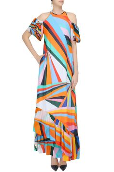 Multicolor rays print cold shoulder frilled hem gown available only at Pernia's Pop Up Shop.