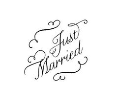 Just Married stamp  hand lettered calligraphy wedding by terbearco, $38.99