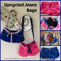 Creating my way to Success: Upcycling Jeans - part two - using specific parts Diy Jeans, Diy Shorts, Diy Bags From Old Jeans, Denim Bag Patterns, How To Make Purses, Making Purses, Cluch Bag, Pochette Diy, Denim Crafts
