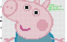 by Sandra Duarte: Peppa Pig Jumper Knitting Pattern, Knitting Charts, Knitting Patterns Free, Free Pattern, Cross Stitch Designs, Cross Stitch Patterns, Peppa Pig Family, George Pig, Le Point