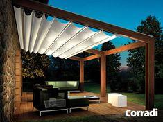 Corradi Pergotenda ® Twin is gewijd aan liefhebbers van design, maar  de warmte van een klassiek materiaal, zoals hout niet willen opgeven. Twin 4 is een op maat gemaakt uitschuifbaar systeem dat bescherming biedt tegen zon en regen. Dit systeem, dat aan -