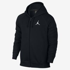 1ca88ecd8a9738 Nike Mens Jordan Flight Full Zip Hooded Sweatshirt Black White Size  X-Large  Made with Soft Terry Fabric and features and embroidered Jordan  Logo on the ...
