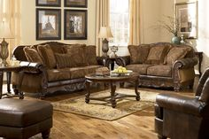 DuraBlend/Match upholstery features DuraBlend upholstery in the seating areas with skillfully matched Polyurethane everywhere else. Old World beauty has never been more comfortable than with the plush rolled arms wrapped in DuraBlend upholstery perfectly complementing the detailed fabric of the thick seating and back cushions coming together to create the grand traditional style of the Fresco DuraBlend Antique Living Room Set from Signature Design by Ashley