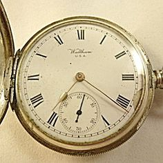 Online Antique and Collectibles Mall - over a half-million vintage antiques and collectible items for sale on-line. Silver Pocket Watch, Vintage Pocket Watch, Pocket Watches, Vintage Antiques, Clock, Sterling Silver, Accessories, Image, Watch
