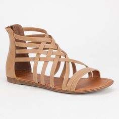 Soda Samina Womens Sandals ($20) ❤ liked on Polyvore featuring shoes, sandals, flats, tillys, sand, strappy flat shoes, strap sandals, strappy flats sandals, strap flat shoes and soda flats