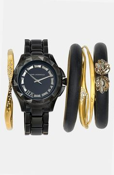 Black & Gold Stacked Wrist