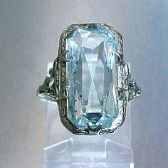 Art Deco 18k White Gold Filigree & Large Aquamarine Ring from mur-sadies on Ruby Lane $495