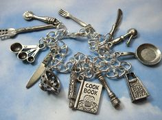 Chef's delight charm bracelet - pewter cooking utensils on silver bracelet - perfect gift for cooks