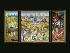 Garden of Earthly Delights (Open)  Hieronymus Bosch 1505-1515  oil on wood panel, Museo del Prado, Madrid, part of tryptich, sold at onset of Netherlands Revolt in 1568 to Spain, Netherlandish Painter(1450-1516)  Torments of Hell on right panel, Garden on Adam and Eve on left, In centre seven deadly sins  - concept of folly of Northern humanists