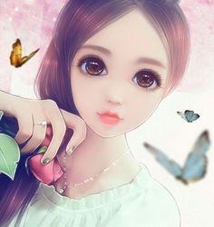 ღ Anime Girl Image ღ Cute Cartoon Girl, Anime Girl Cute, Anime Art Girl, Anime Girls, Cute Baby Girl Wallpaper, Anime Korea, Beautiful Girl Drawing, Girly M, Lovely Girl Image