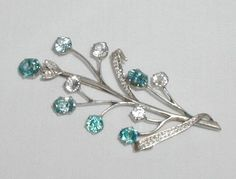 Antique Vintage Sterling Silver Natural Blue White Zircon Spray Brooch Pin