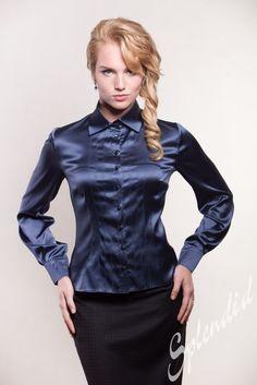 black satin pencil skirt blue satin blouse