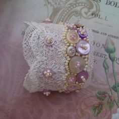 DENTELLE Cuff, Bracelet, Vintage, Bride, Lace, Beads, Embroidery, Wedding, Pink, White, Cream. €113.00, via Etsy.