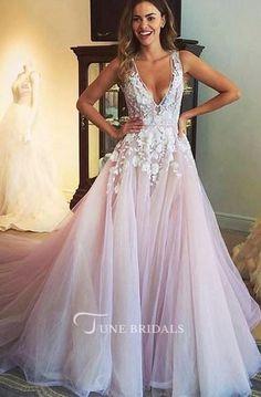 A-line V-neck Lace Appliqued Pink Wedding Dresses,Tulle Chapel Train Prom Dresses,Long Formal Light Pink Wedding Dress, V Neck Wedding Dress, Colored Wedding Dresses, Tulle Wedding, Blush Wedding Dresses, Blush Prom, Modest Wedding, Pink Dresses, Wedding Bells