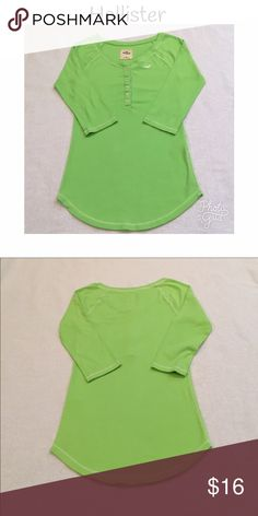 HOLLISTER long sleeve Henley style t-shirt! Hollister long sleeve Henley style t-shirt in bright green. Excellent used condition! Hollister Tops Tees - Long Sleeve